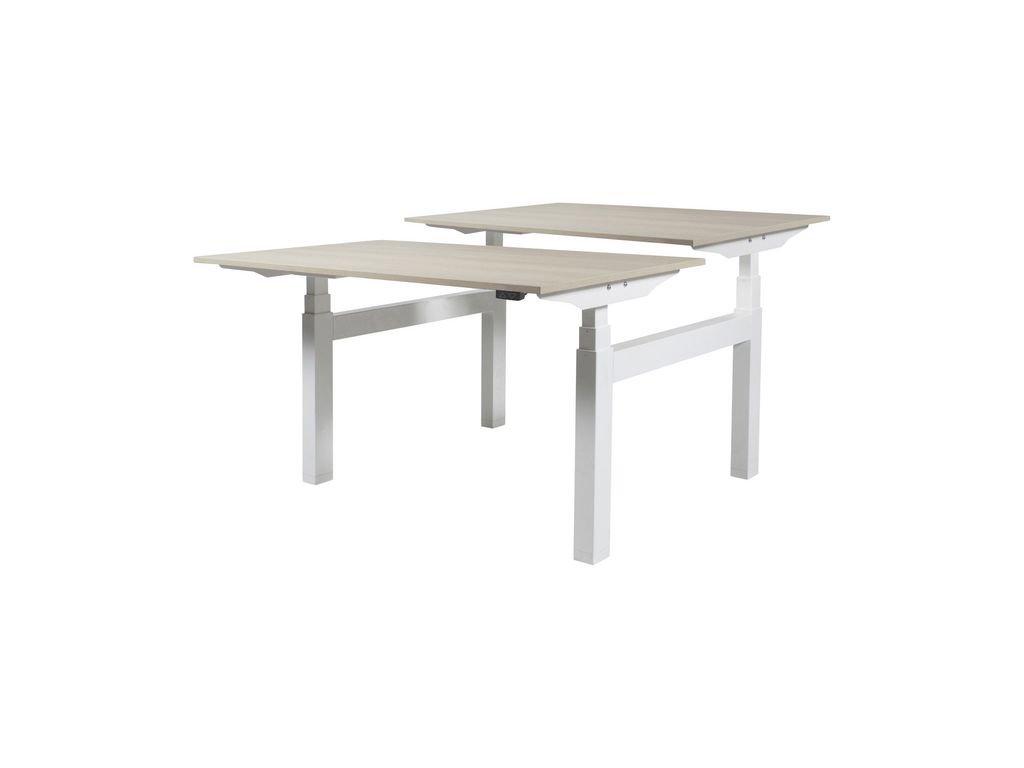 Licht Eiken Side Table.Prof Desk Electro Duo Verstelbaar Bureau 160 X 80 Cm Licht Eiken Blad Witte Poten
