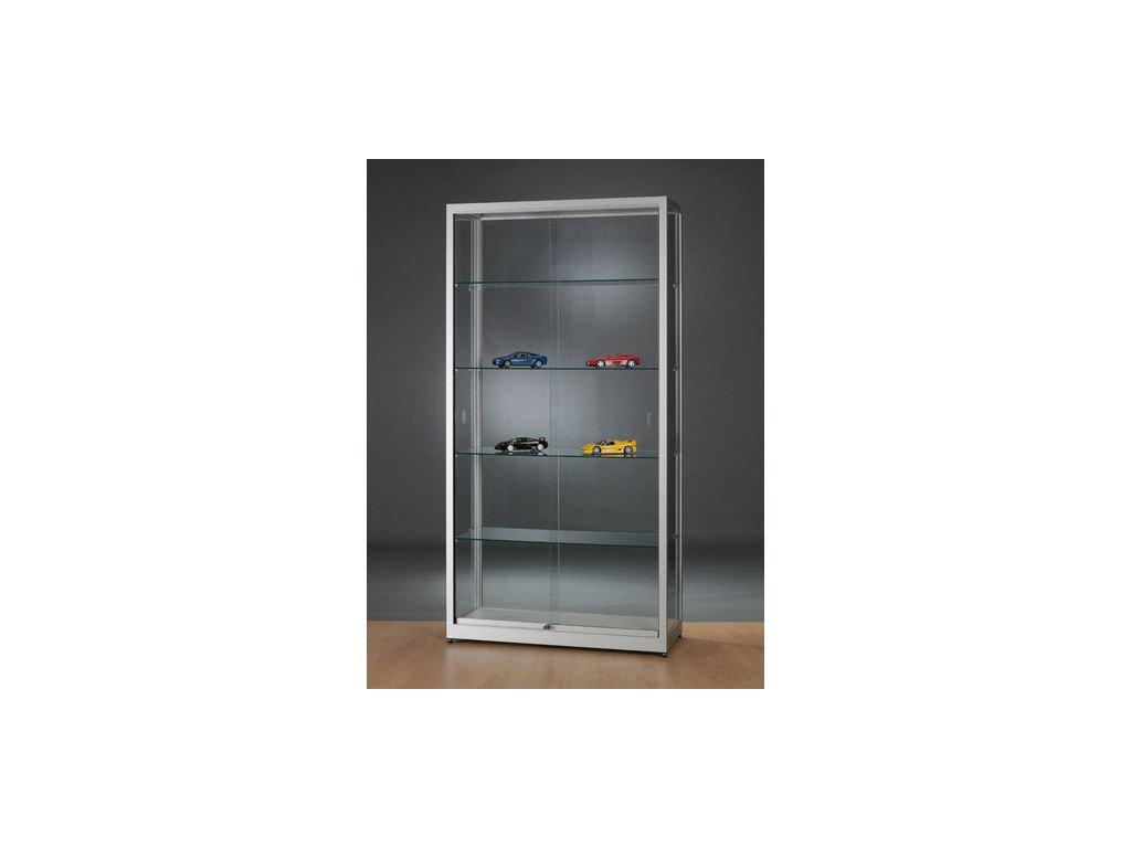 Vitrinekast Te Koop.Wme1000 Vitrinekast 198 X 100 X 40 Cm Glas En Aluminium Zilveren Lijst